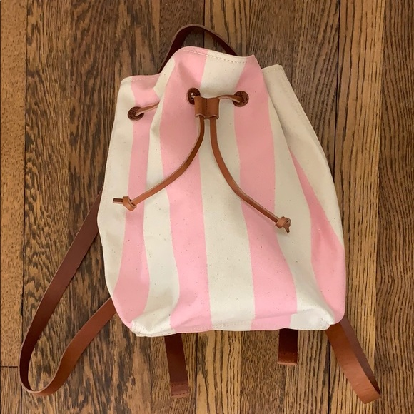 8ec69f5363e7e NWT Madewell Pink Striped Canvas Mini Backpack